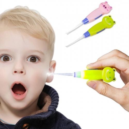 Ausies vaško šalinimo įrankis vaikams su LED šviesa (šaukštelis)